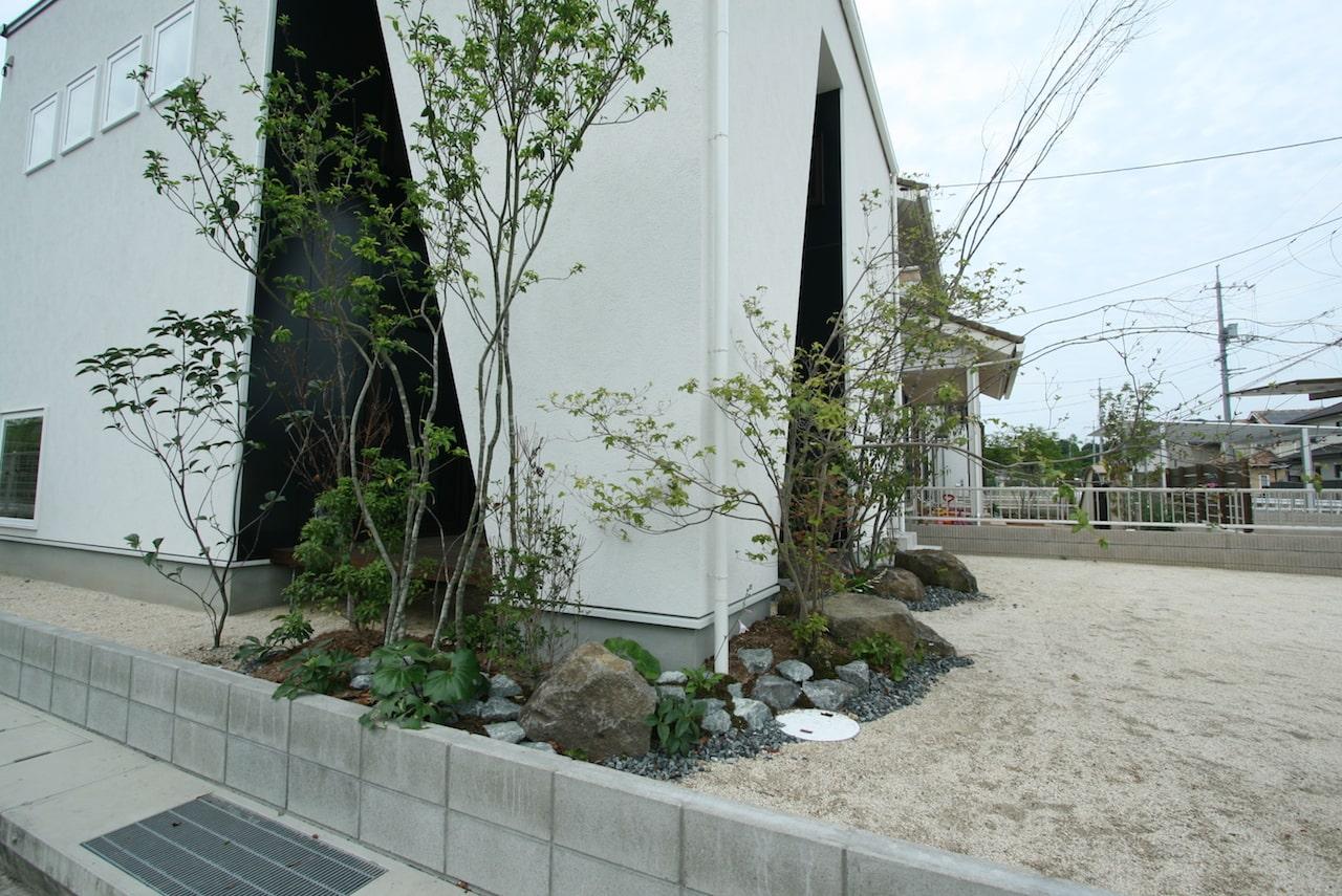 福山市の注文住宅|今井住建の施工事例ギャラリー「外からも中からも映える緑」