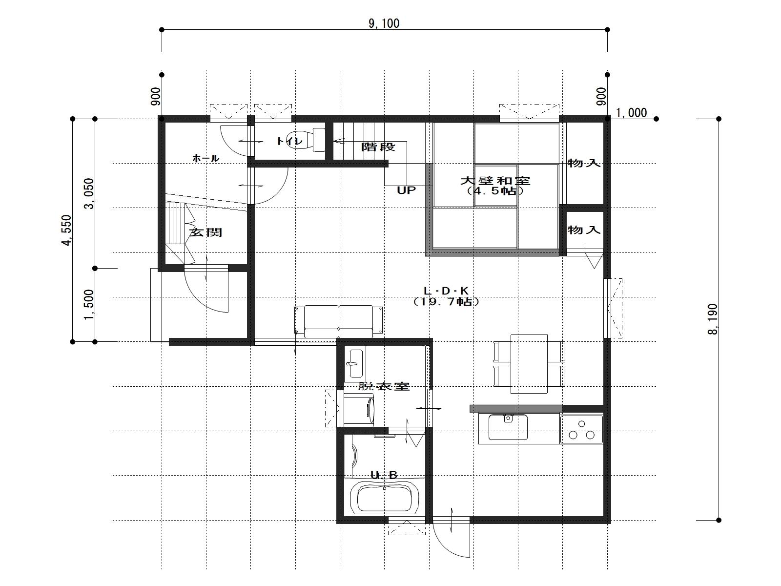 ウエストサイド松永3号地の1階間取り図