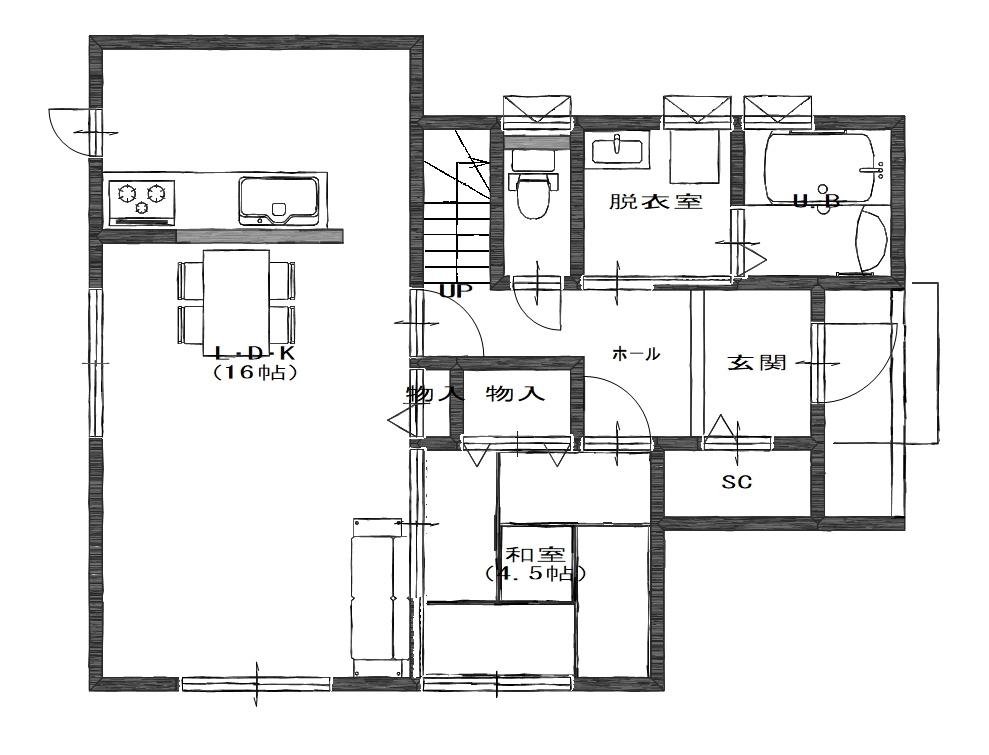 ガーデンリバー新徳田3号地の1階間取り図