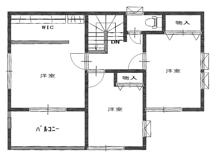 ガーデンリバー新徳田3号地の2階間取り図