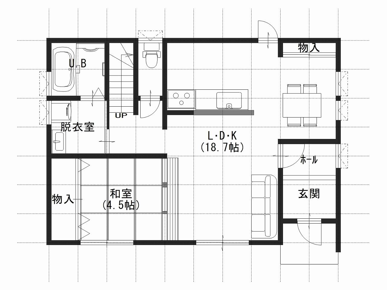 ガーデンリバー新徳田4号地の1階間取り図