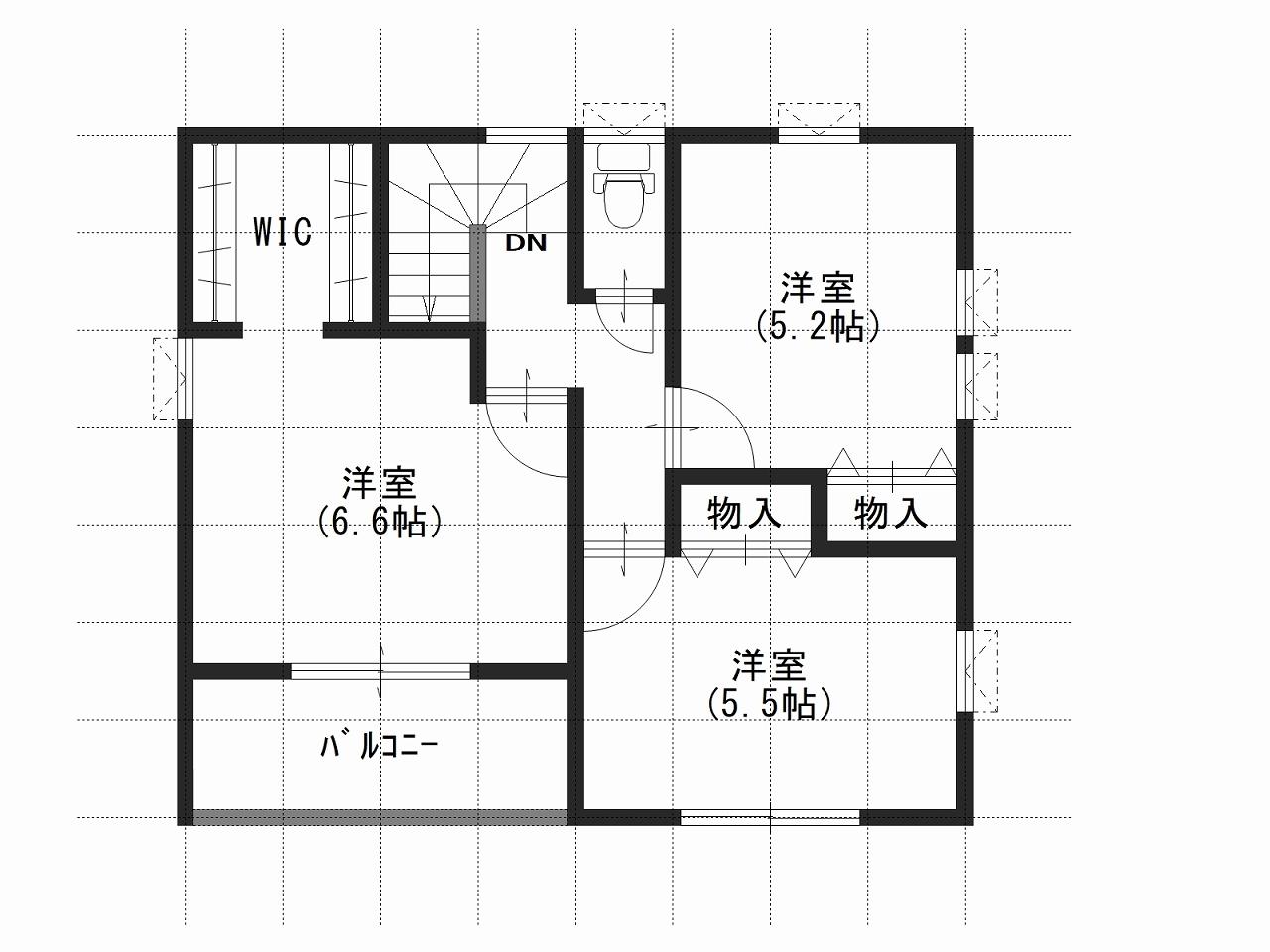 ガーデンリバー新徳田4号地の2階間取り図