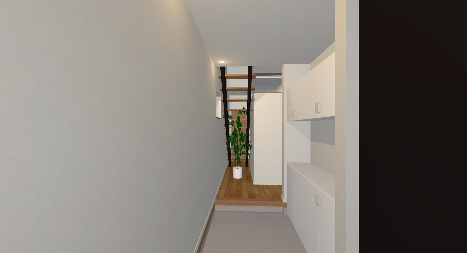 万能倉ガーデン2-1|玄関から続く階段が空間を広く見せています