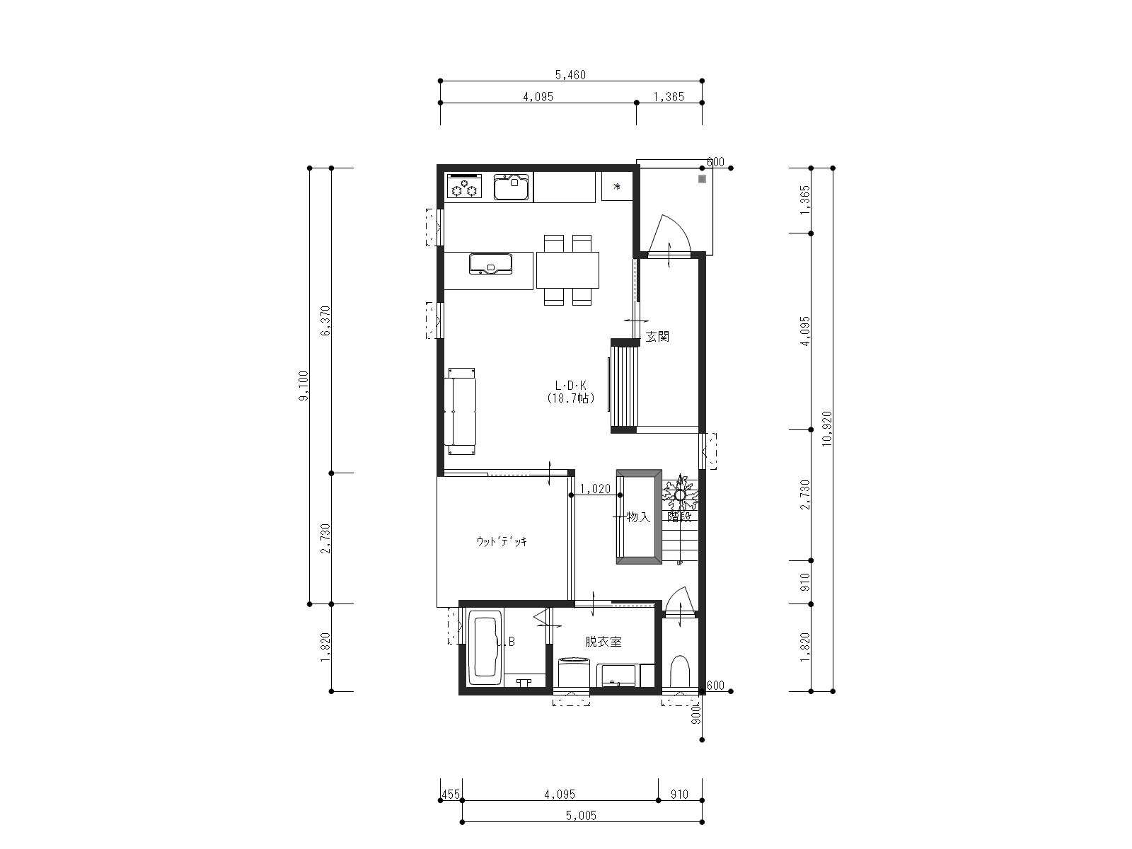 万能倉ガーデン2-1の1階間取り図