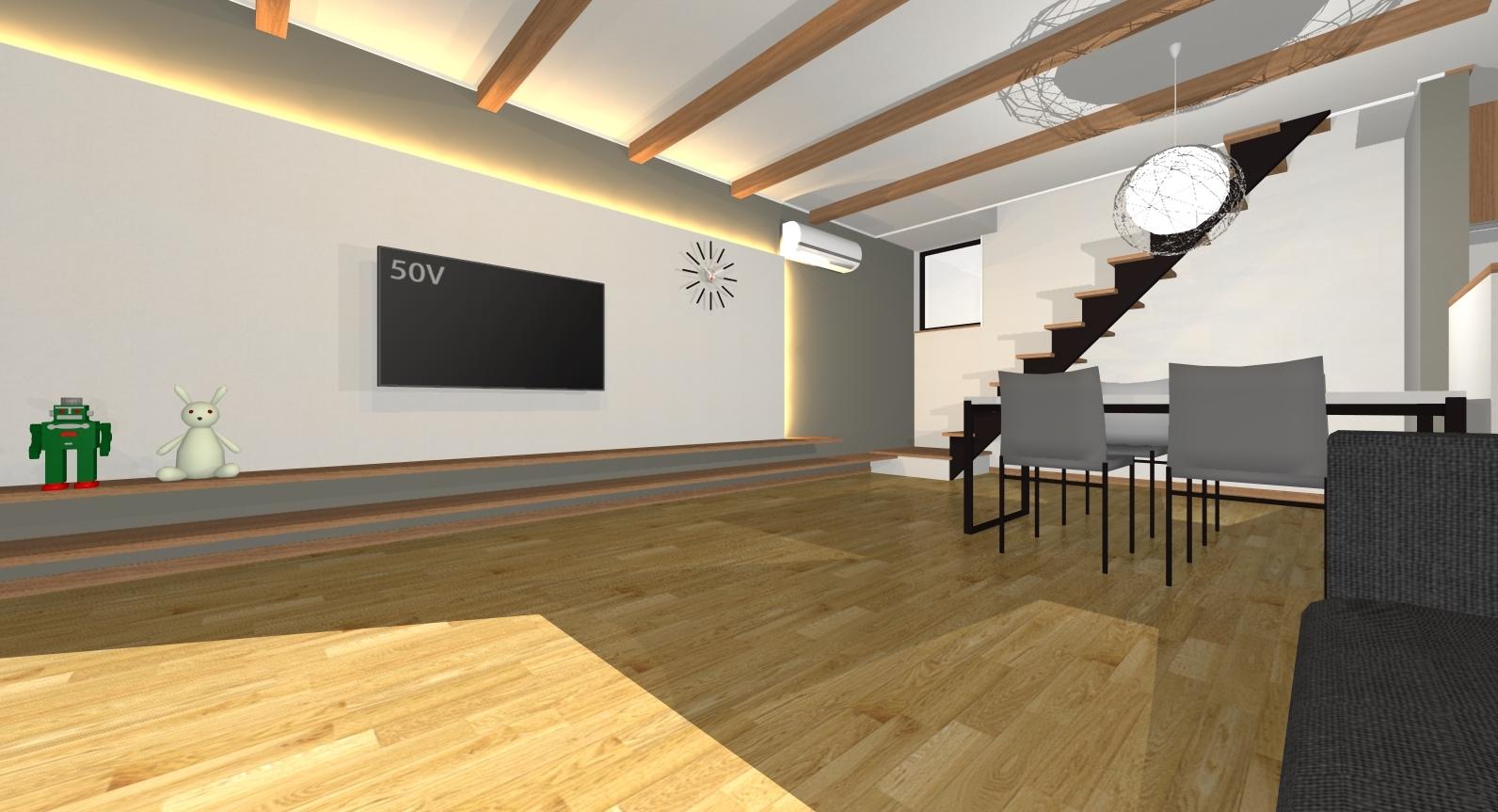 ガーデンシティ高木3号地新築住宅|化粧梁が空間を広く見せてくれます