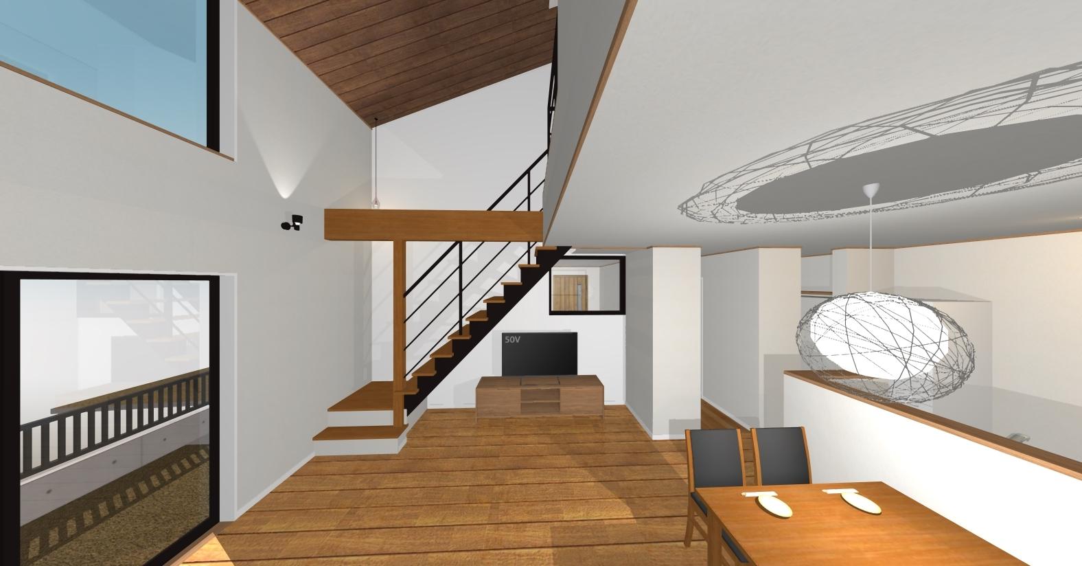 万下2号地新築住宅|アイアン階段が空間を広々みせてくれます