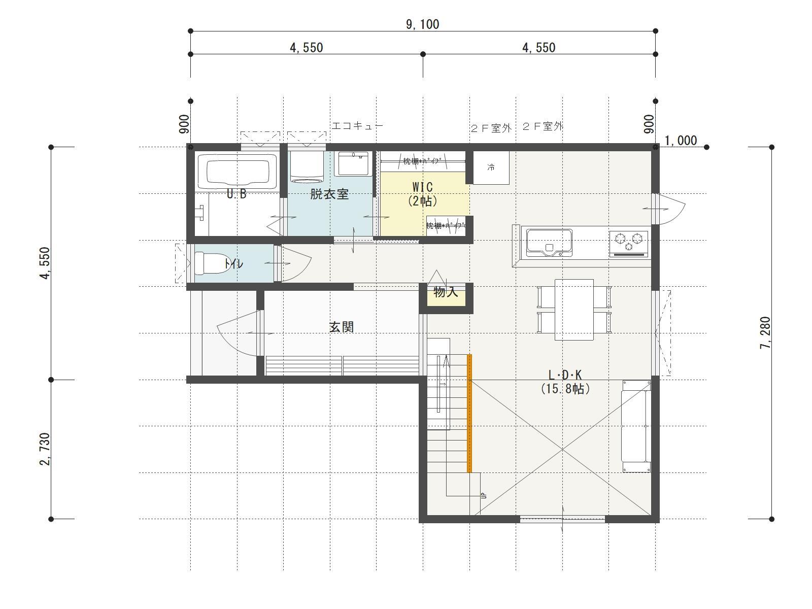 万下2号地新築住宅の1階間取り図
