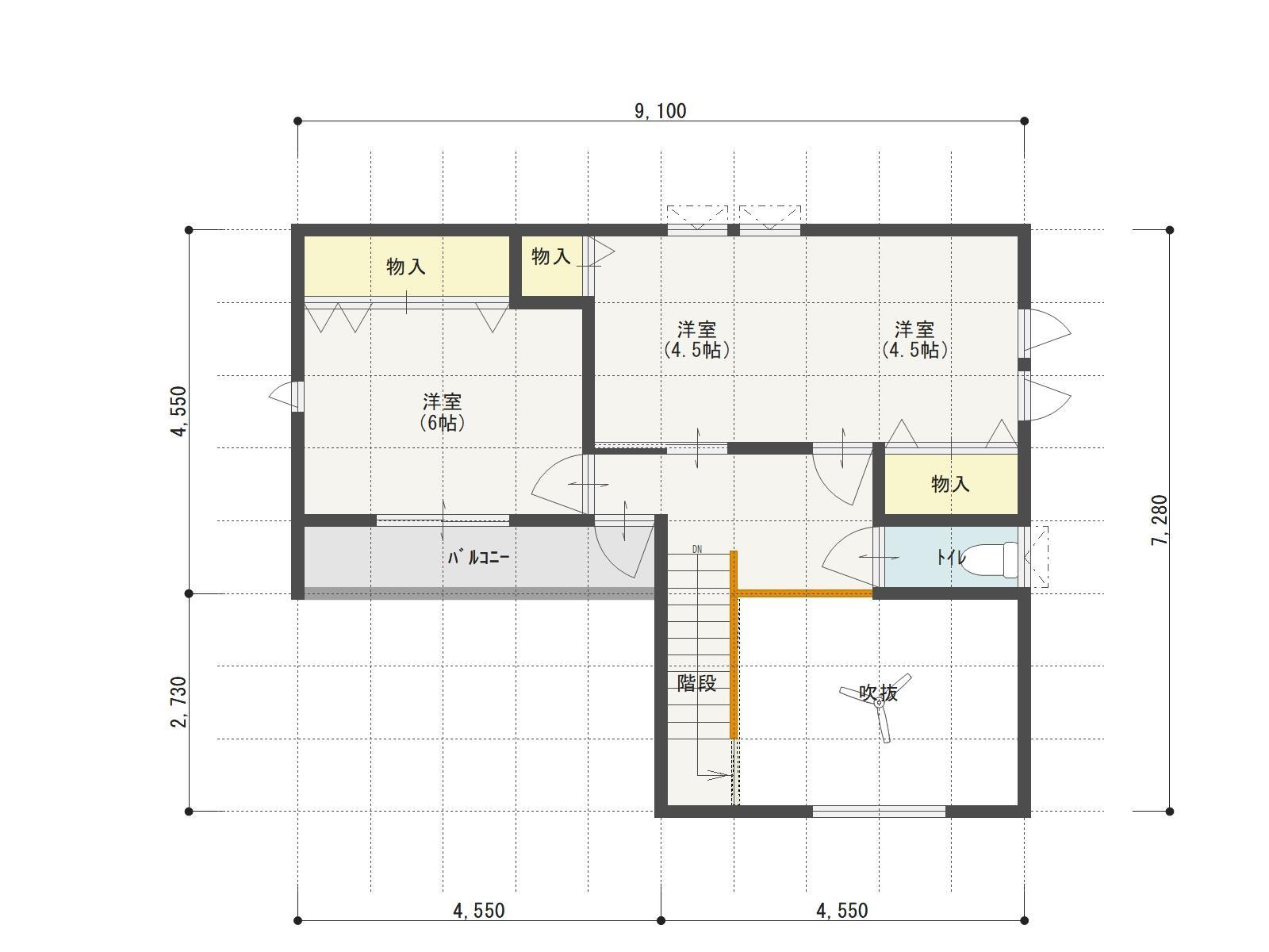 万下2号地新築住宅の2階間取り図