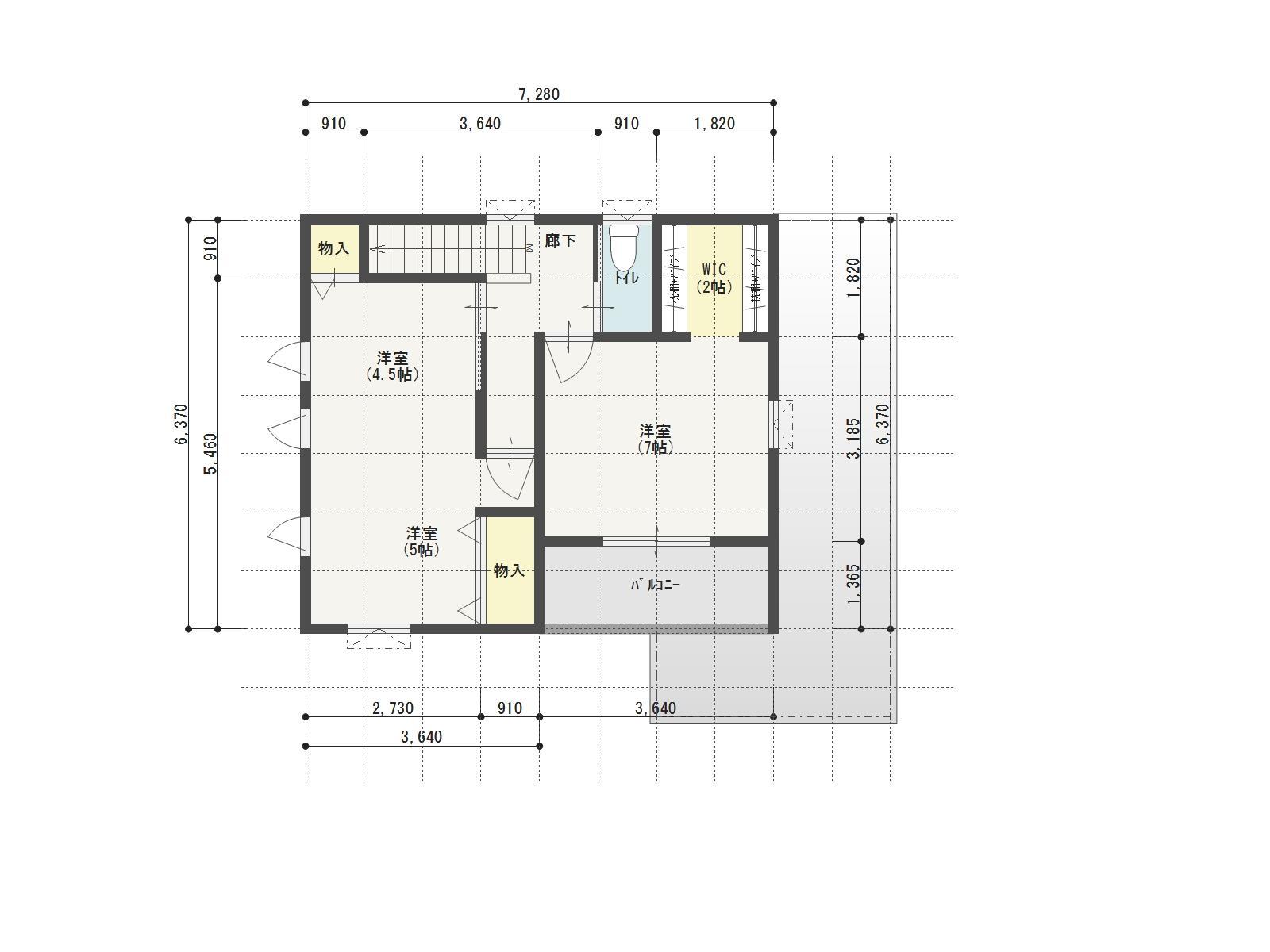 ガーデンシティ高木3号地新築住宅の2階間取り図