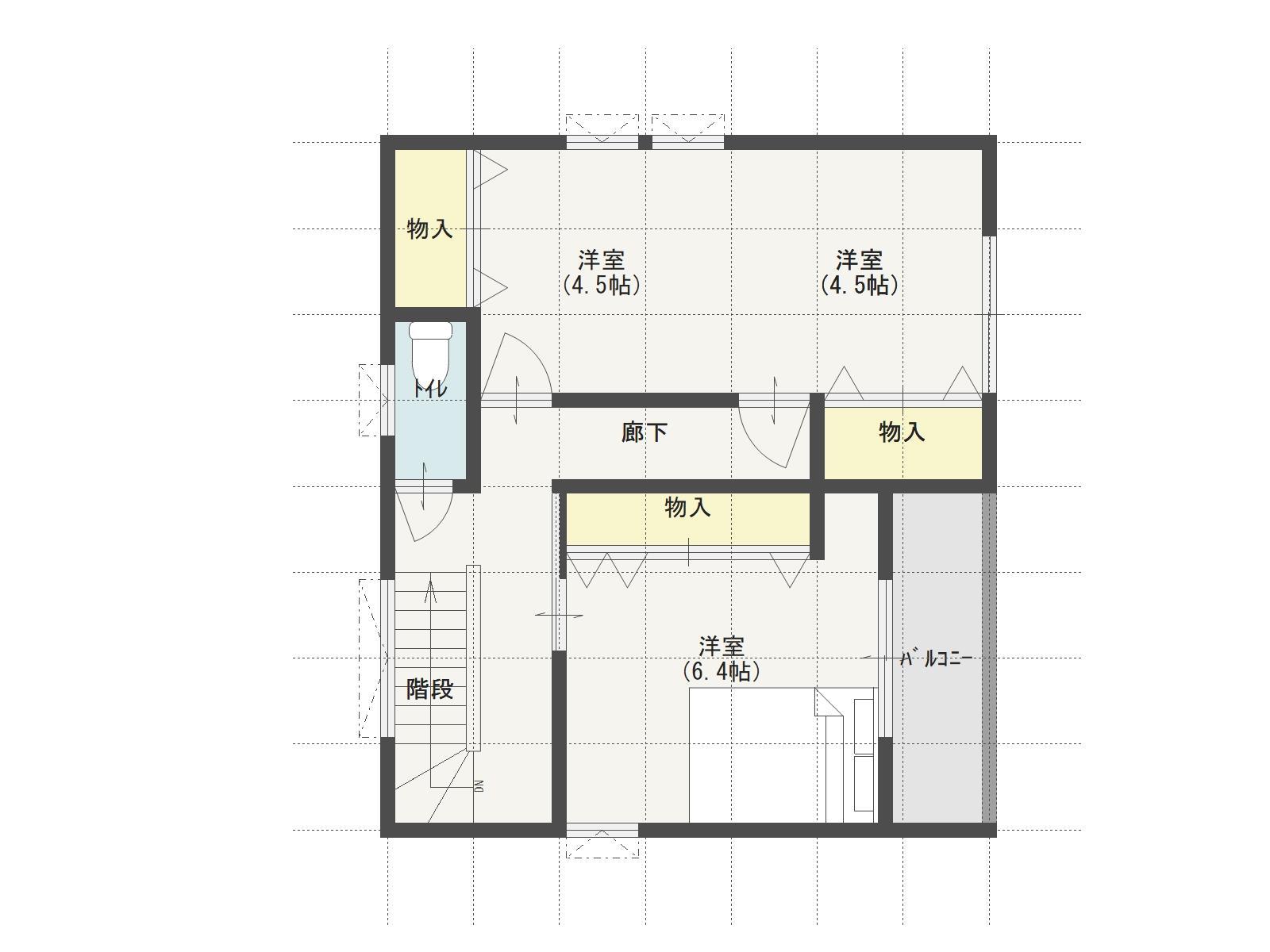加茂町下加茂E棟の2階間取り図